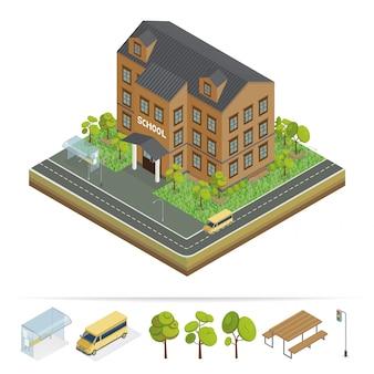 学校の建物。モダンスクール都会のシーン。スクールバス。学校の正面