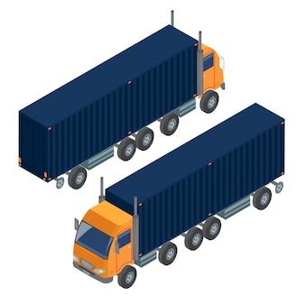 貨物輸送トラックトレーラー。配達用トラック。物流輸送
