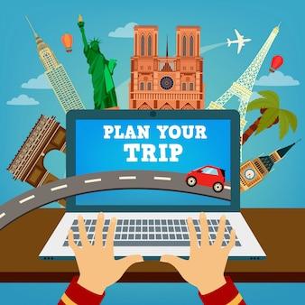 あなたの旅行を計画します。旅行する時間休暇の計画旅行産業。現代の旅行技術予約ホテル