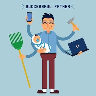 成功した父スーパーお父さん。スーパーマンマルチタスクマン完璧な夫。熟練した手。赤ちゃんと父親。父と息子。ラップトップを持つ男。ベクトルイラストフラットスタイル