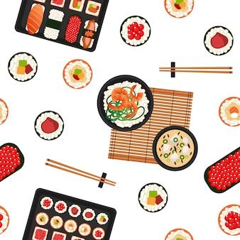 寿司のシームレスなパターン。日本の食べ物シーフード。