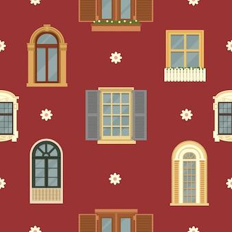詳細なビンテージ窓と建築のシームレスパターン