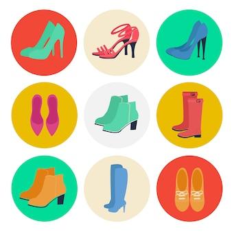 女性の靴。女性のファッション。季節の靴。アイコンを設定します。ブーツ、ルブタン、靴。ベクトルイラストフラットスタイル