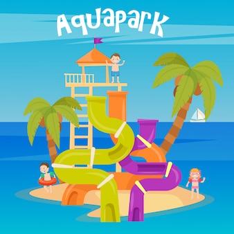 Аквапарк. летний отпуск. веселый аквапарк. водяные холмы. векторная иллюстрация