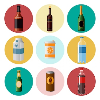 さまざまな飲み物ウェアで飲み物。要素セットベクトルイラスト