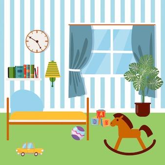 子供の寝室のインテリア。子供用家具とおもちゃベクトルイラスト
