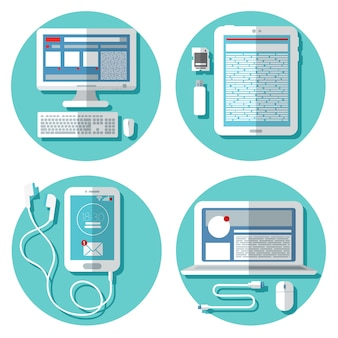 Современные технологии: ноутбук, компьютер, смартфон, планшет и аксессуары. набор элементов. векторная иллюстрация