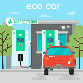 電気自動車。充電ステーションにエコカー。グリーンエネルギー電気自動車ベクトルイラスト