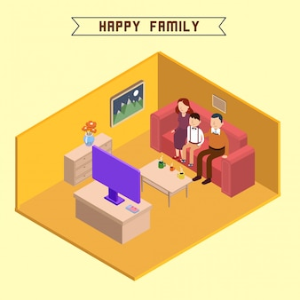 Изометрические интерьер счастливая семья