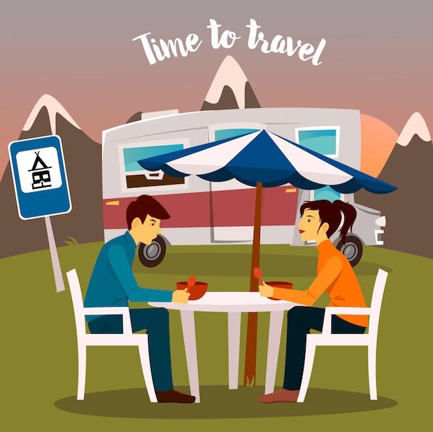 サマーキャンプ。男と女がキャンピングカーのそばに座っています。旅行する時間ベクトルイラスト