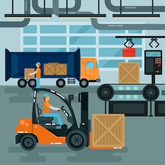 工場内のフォークリフト。貨物産業。重い輸送。倉庫コンベア。