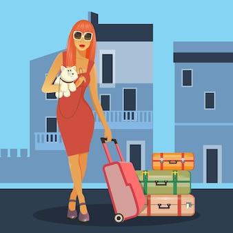 Женщина идет в отпуск. женщина с багажом. девушка с собакой. путешествия баннер.