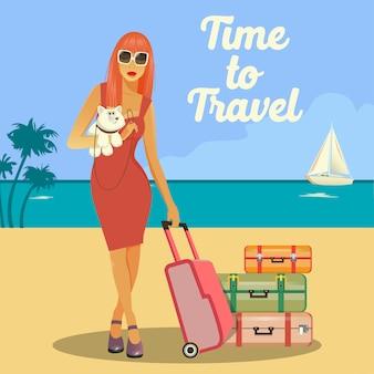 Женщина идет в отпуск. женщина с багажом. девушка с собакой. тропический отпуск. путешествия баннер.