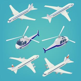Пассажирский самолет. пассажирский вертолет. изометрический транспорт. самолет.
