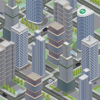 等尺性アーキテクチャ。ビジネス街。高層ビルの街並み。等尺性の輸送。