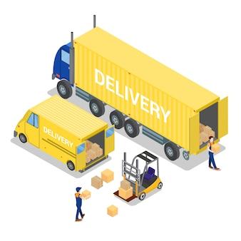 等尺性倉庫。貨物産業。フォークリフトの労働者。貨物の積み込み。