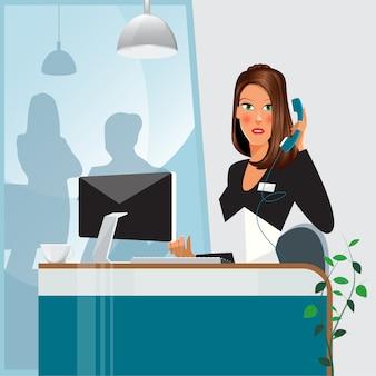 女性秘書。電話で話している女性。オフィスの女性。