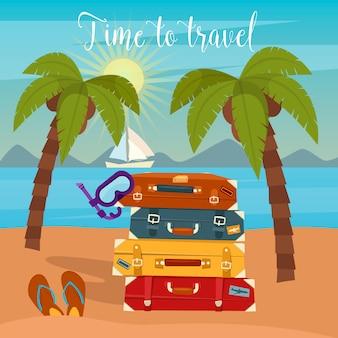 熱帯の休暇。旅行手荷物。ビーチでの休暇。