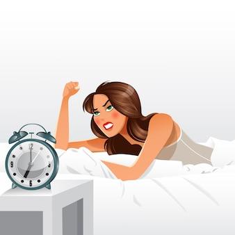 早起きについて怒っている女性。朝の目覚まし時計。
