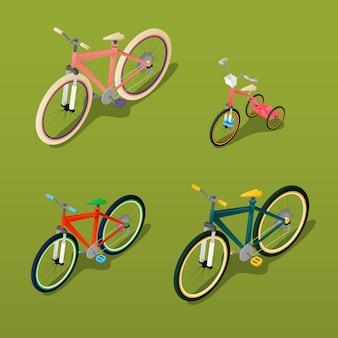 Изометрические велосипед. городской велосипед, детский велосипед. векторная иллюстрация