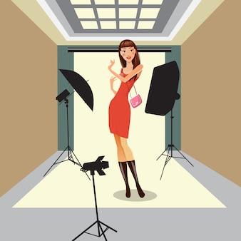 Модель позирует в фотостудии. красивая молодая женщина на фотосессии. векторная иллюстрация