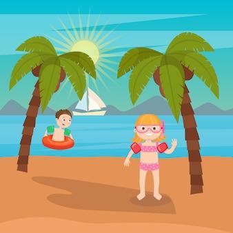 子供の海の休暇。ビーチで遊ぶ女の子と男の子。ベクトル図