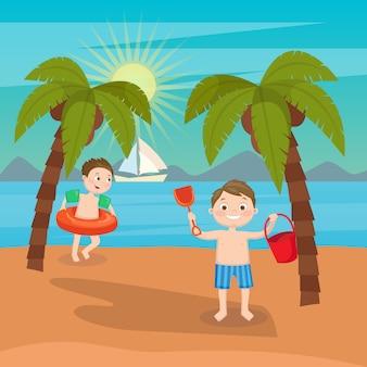 子供の海の休暇。ビーチで遊ぶ男の子。ベクトル図