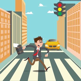 Люди на пешеходном переходе. бизнесмен спешит на работу. векторная иллюстрация