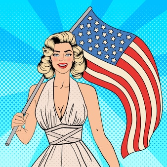 アメリカ独立記念日。アメリカの国旗を持つ美しい女性。ポップアート。