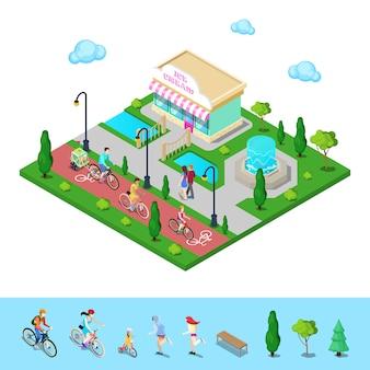 自転車道のある都市公園。自転車に乗って家族。アクティブな人々。
