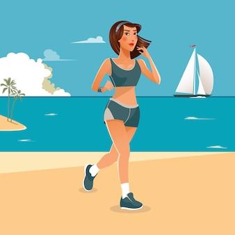 走っている女性。スポーツ演習を行うフィットの女の子。ビーチで走っている女性。