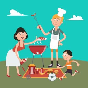 家族の週末。ピクニックでバーベキューをしている幸せな家族。ベクトル図