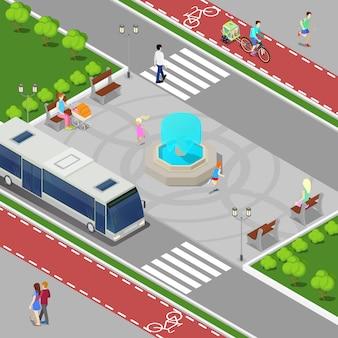 Современный город изометрические концепция. городской фонтан с детьми. велосипедная дорожка с верхом людей. векторная иллюстрация