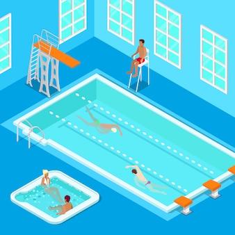 水泳、ライフセーバー、ジャグジーを備えた屋内スイミングプール。等尺性の人々。ベクトル図