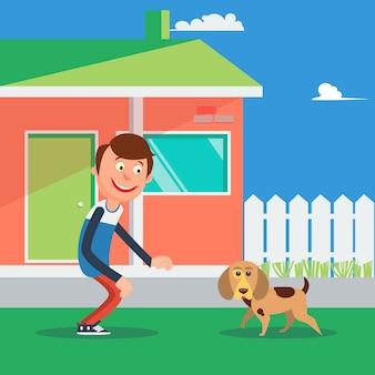 犬と遊んで幸せな少年。子供と子犬。ベクトル図