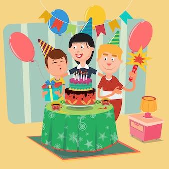 Семейный день рождения. счастливая семья празднует день рождения сына. векторная иллюстрация