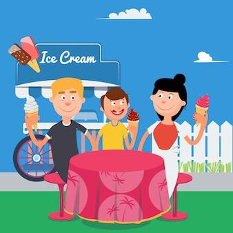 Счастливая семья ест мороженое. выходные с семьей. векторная иллюстрация