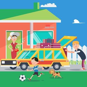 Семейный отдых. летняя поездка на машине. векторная иллюстрация