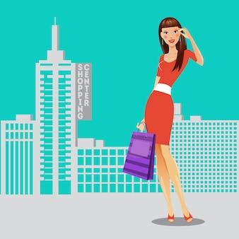 買い物袋を持つ少女。ショッピングの女性。販売バナー。ベクトル図