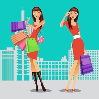 買い物袋を持つ女の子。ショッピングの女性。販売バナー。ベクトル図