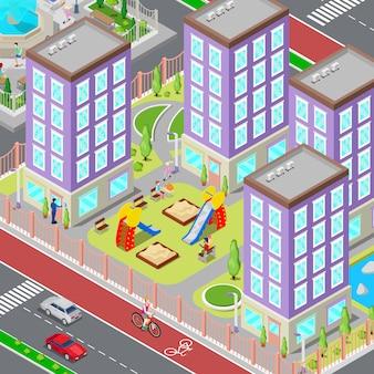 Изометрическая городская спальная зона. современный двор с домами и детской площадкой. векторная иллюстрация