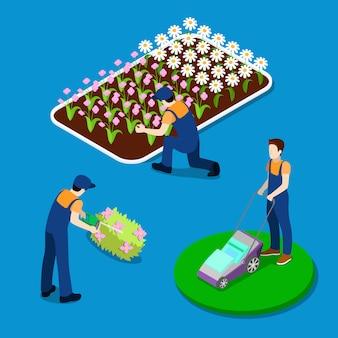 Садовые подстриженные растения. работник сада, используя газонокосилку. изометрические люди.