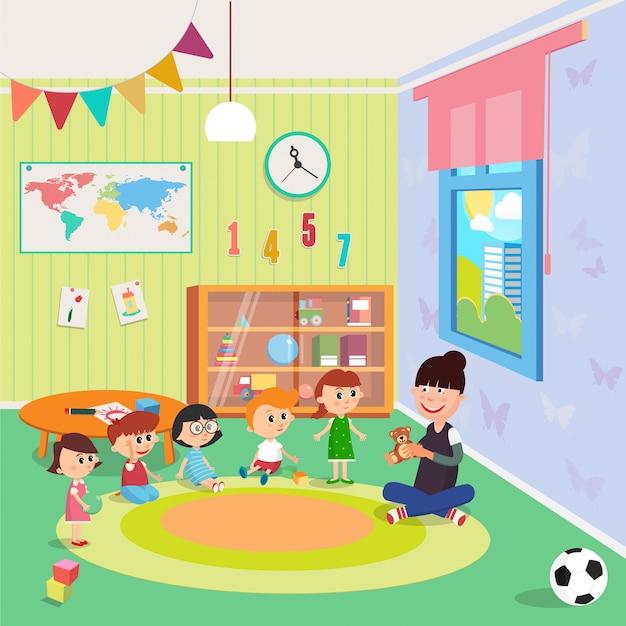 Детский сад интерьер. девочки и мальчики сидят вокруг учителя.
