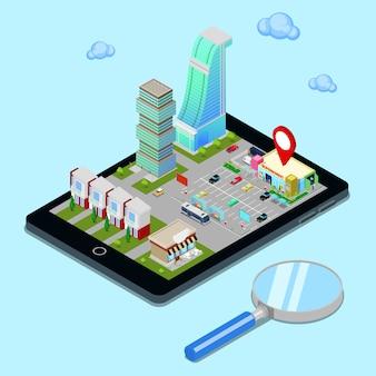 等尺性モバイルナビゲーション。観光業界。タブレット画面上の近代都市。