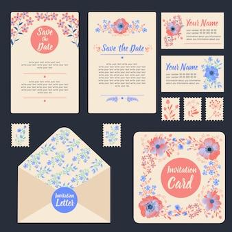 花とグリーティングカードを設定します。結婚式用ステーショナリー