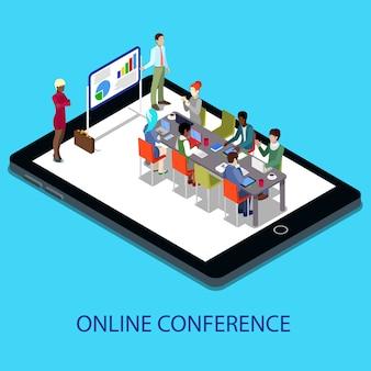 Изометрические онлайн конференция бизнес-презентация с людьми на планшете.