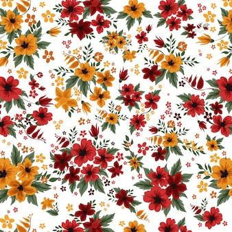 ビンテージスタイルの赤と黄色の花とのシームレスなパターン