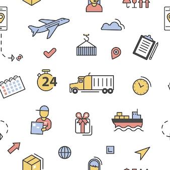 物流配送配送サービスラインアートシームレスパターン。