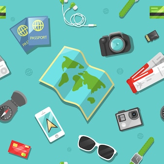 Туризм и путешествия бесшовные модели.