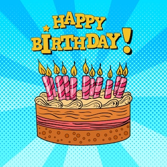ケーキとキャンドルで誕生日グリーティングカード。